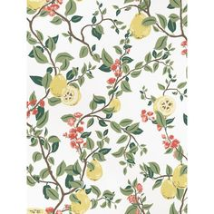 Papier peint Kvitten blanc, rouge et vert - Arboretum - Sandberg Bright Wallpaper, Chic Wallpaper, Kitchen Wallpaper, Flower Wallpaper, Wallpaper Ideas, Pierre Frey, Nina Campbell, Cozumel, Mind The Gap