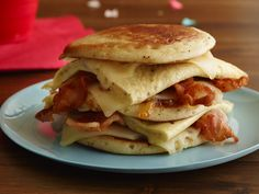 Get this all-star, easy-to-follow Hangover Bacon, Egg and Cheese Pancake Sandwich recipe from Food Network Kitchen