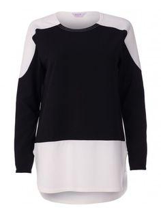Womens Black Textured Basic Liverpool Crepe Fashion Top
