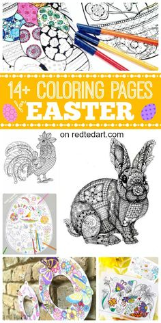 Free Coloring Pages for Easter. Love these gorgeous Easter Colouring Pages - from the fabulous Rooster Coloring Page to the hoppingly cute Grown up Bunny Coloring Page. Just stunning. Take a look at the Spring Wreath and check out the bunny card printa Easter Arts And Crafts, Easy Crafts For Kids, Free Printable Coloring Pages, Free Coloring Pages, Coloring Book, Easter Egg Coloring Pages, Easter Activities, Origami, Check