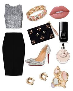 """""""Untitled #18"""" by andela-balazova on Polyvore featuring Angela Valentine Handbags, Christian Louboutin, Boohoo, Design Lab, Lime Crime, Chanel and Valentino"""