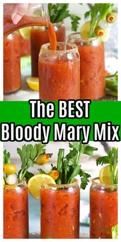 Best Bloody Mary Recipe Spicy, Best Bloody Mary Mix, Homemade Bloody Mary Mix, Bloody Mary Recipes, Bloody Mary Recipe With Pickle Juice, Fun Drinks, Yummy Drinks, Beverages, Spicy Recipes