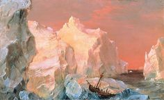 Icebergs and Wreck in Sunset (1860), Frederic Edwin Church