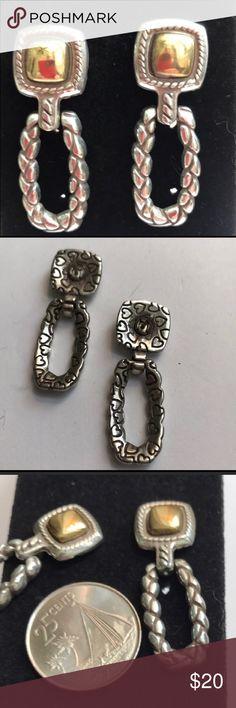 "Brighton Earrings Brighton 2 tone Earrings.  About 1.5"" Long Brighton Jewelry Earrings"
