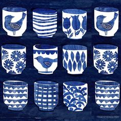 Indigo Pots by TRACEYENGLISH