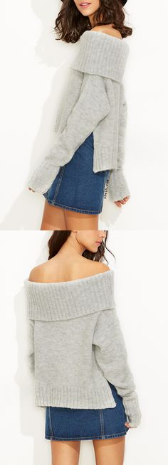 Great! thick material & looks as picture. Grey Fold Over Off The Shoulder Slit Sweater from shein.com.