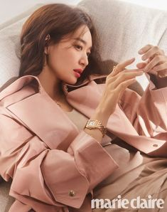 Shin Mina Pretty in Pink and Purples for Holiday Marie Claire Korea Pictorial Female Actresses, Korean Actresses, Korean Actors, Actors & Actresses, A Day In Paris, Shin Min Ah, Cute Korean, Beautiful Celebrities, Marie Claire