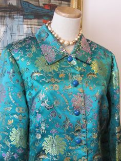 Vintage Chinese Embroidered Satin Jacket by TheFlyingHostess