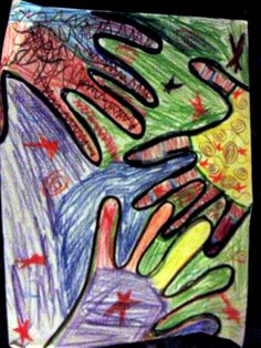 A colorful image with hand prints and patterns made by Sophia, 10 years old • Art My Kid Made the artist of the day on Nov. 27th!