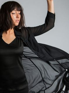 Lily Blouse. Long black chiffon button up blouse that wears like a sweater. Long Black, All Black, Online Boutiques, Button Up, Chiffon, Lily, Blouse, Womens Fashion, Sweaters