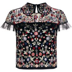 Needle & Thread - Posy Floral Embroidered Ruffle Cropped Top (€245) ❤ liked on Polyvore featuring tops, blouses, shirts, crop top, t-shirts, cropped shirts, cap sleeve top, shirt top, peter pan collar shirts and flower embroidered shirt