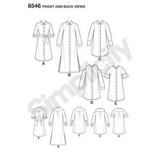 Misses' and Miss Petite shirt dress pattern has sleeve, collar, cold-shoulder and length variations with button front placket detail. Simplicity sewing pattern from the American Sewing Guild. Fit For Petite.