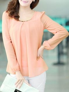 7 Color Round Neck Chiffon Plain Long-sleeve-t-shirt Long sleeve T-shirts from fashionmia.com