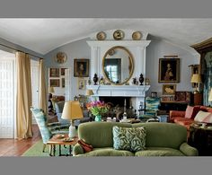 Fresh application of English taste helped by white walls  clean, varied colors otherwise.