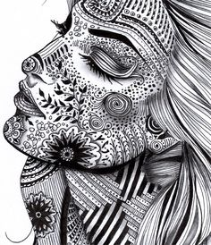 some Illustration! Can you imagine the time this took? But would love to try something like it... Doodles Zentangles, Tangle Doodle, Tangle Art, Zentangle Drawings, Zen Doodle, What Is Zentangle, Easy Doodle Art, Face Doodles, Easy Zentangle Patterns