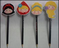 Lápis com ponteira feltro princesas