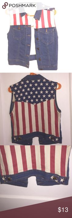 American Flag Denim Vest Excellent condition, worn twice! Forever 21 Tops