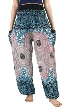 Unisex Peacock pants/Sunflower floral Hippie pants Harem Boho