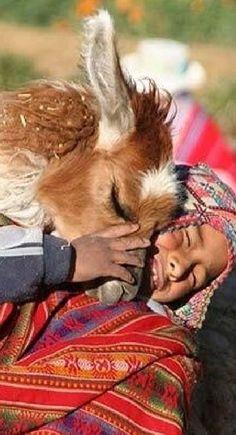 Peruvian boy and his llama in Yaque, Peru: