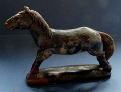 VERY FINE CHINESE CARVED SOAPSTONE FIGURE OF A HORSE - 19TH CENTURY