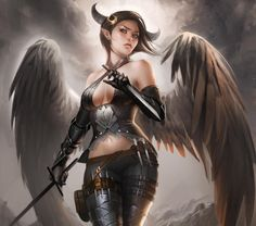 dark angels women wings horns fantasy art elves artwork swords demon