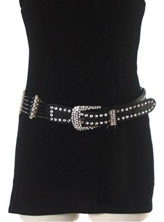 This stylish PU coated 100% leather belt with jeweled embellishments will polish your look and turn any outfit chic. Black. One size. $24.99