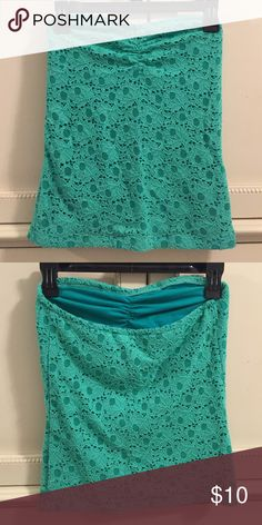 Aerie Turquoise Tube Top Aerie turquoise tube top with floral pattern. Perfect for summer! Size medium. aerie Tops