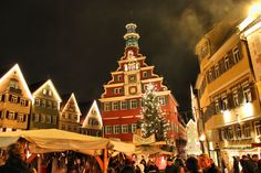 Esslingen, Germany - Christmas Market in the old town square; the building in the center is the Town Hall Christmas Markets Germany, German Christmas Markets, Christmas Town, Old Town Square, Town Hall, Bruges, Adventure Awaits, Places To Go, Around The Worlds