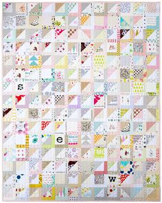 Modern Half Square Triangle Quilt. Pattern available | Red Pepper Quilts 2016