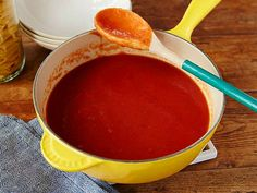 Get Tomato Sauce Recipe from Food NetworkCooked Fresh Tomato Sauce . This sauce goes well with the smooth texture of spaghetti and penne. Oven Roasted Tomatoes, Roasted Tomato Sauce, Tomato Sauce Recipe, Sauce Recipes, Wing Recipes, Tomato Season, Food Mills, Alton Brown, Red Sauce