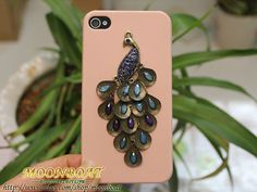 Beautiful Brass Peacock  Light Pink Hard Case Cover by moonboat, $10.99