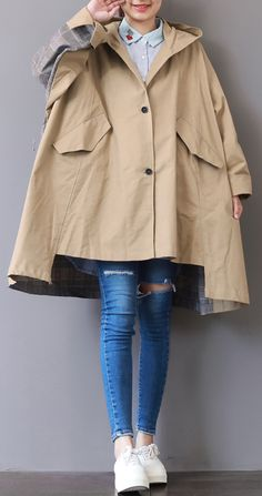 New khaki Coats plus size hooded low high design Coat boutique patchwork Winter trench coat Classy Outfits For Women, Preppy Outfits, High Design, Hijab Fashion, Fashion Outfits, Preppy Fashion, Khaki Coat, Winter Trench Coat, Raincoat Outfit