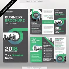 Business brochure template in tri fold layout. corporate design leaflet with replacable image. Brochure Indesign, Template Brochure, Brochure Layout, Graphic Design Brochure, Corporate Brochure Design, Business Brochure, Tri Fold Brochure Design, Leaflet Layout, Leaflet Template