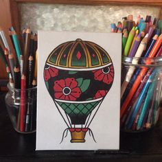 Hot Air Balloon Painting by TheDishArt on Etsy