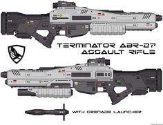 Terminator ABR-27 assault rifle with grenade launcher (sci-fi concept gun - futuristic weapon)
