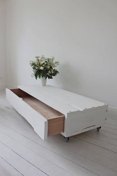 White Coffee Table With Drawer On Castors