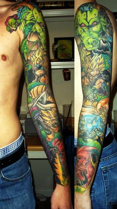 shenron_gohan_goten_trunks_majin_buu_tattoo_arm.jpg (500×890) | OMG a DragonBall Z sleeve!: