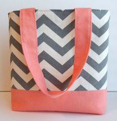Summer Gray Chevron and Salmon Pink Tote