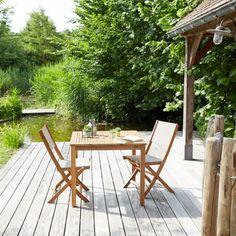 Salon de jardin en bois d\'acacia et textilène #mobilierdejardin ...