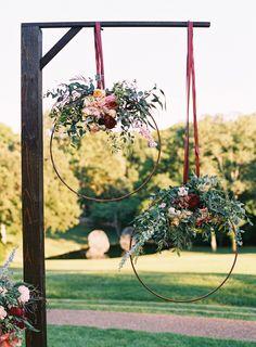 Unique ceremony alter ideas, floral centerpiece, bold fall flowers, photo: austin gros