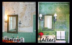 @Michelle Lopez of *Sparkle* Faux Designs shares her steps for this amazing bathroom transformation with elbow grease, metallic plasters, and our Lisboa Tile wall stencil