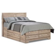 Simply modern, this Yorkdale storage bed embodies functional style in every aspect. Its clean, glad-birch finish will complement most existing decors, while its sleek pewter hardware enhances the style and appeal of this contemporary package. Plus, enjoy plentiful storage with 12 drawers in the bed base to hold a wide variety of household items.