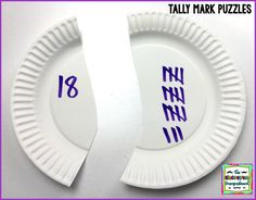 Practice tally marks with paper plate puzzles! Kindergarten Smorgasboard, Kindergarten Centers, Math Centers, Paper Plate Crafts, Paper Plates, Math Worksheets, Math Activities, Daily Math, Math Practices