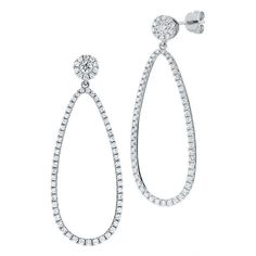 $1,359.99   Round Brilliant 0.92 ctw VS2 Clarity, I Color Diamond 14kt White Gold Loop Earrings