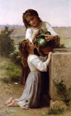 """Oil painting """"At the fountain"""" by William-Adolphe Bouguereau Oil painting reproductions for sale, www. William Adolphe Bouguereau, Paintings I Love, Beautiful Paintings, Unique Paintings, Oil Paintings, Munier, Foto Art, Oil Painting Reproductions, French Artists"""