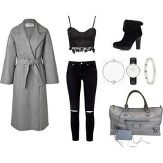 Sweet gray by karina-khabibullina on Polyvore featuring мода, Valentino, UGG Australia, Balenciaga, Cartier, Daniel Wellington and Pandora