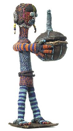 "YORUBA BEADED FIGURE 25 19.5"" high x 8"" wide x 9"" deep"