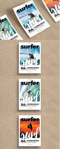 Surfing Flyer Template AI, PSD - A4