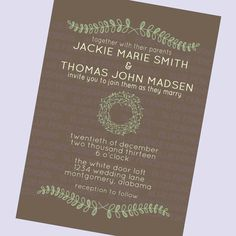 simple wedding invitation folk brown laurels by BlueFenceDesigns, $11.00
