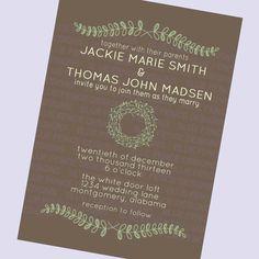 simple wedding invitation folk brown laurels by BlueFenceDesigns, $11.00
